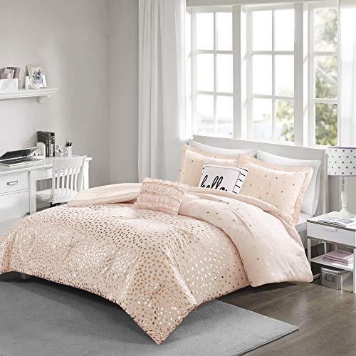 Intelligent Design Zoey All Season Bedding Set, Matching Sham, Decorative Pillow, Twin/Twin XL, Blush/Rosegold