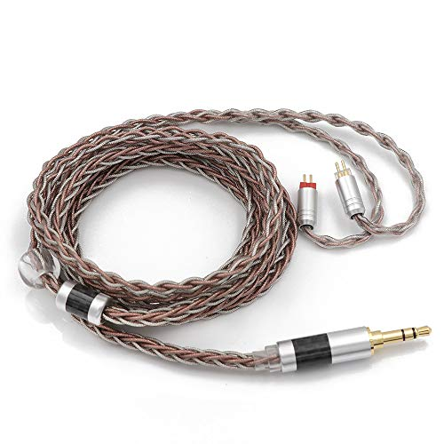 TRIPOWIN C8 8-Core Silver Copper Foil Braided Earphone Replacement Upgrade Cable, Tinsel Silver Copper Wire for BL03 KZ ZS10 PRO AS10 ZS10 ZS6 ES4 ZST ZSR TRN V80(3.5mm, 2 pin 0.78mm Connector)