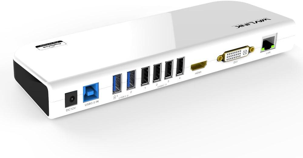 WAVLINK USB 3.0 Docking Station Dual Monitor Display for Mac&Windows Laptop in Extend/Mirror Mode, Support DVI/HDMI/VGA, 2xUSB 3.0 Fast Charging, 4xUSB 2.0, Gigabit Ethernet, Audio Jack