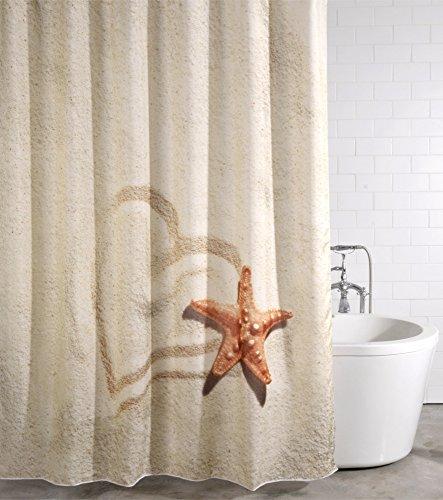 Duschvorhang Sandy 180 x 200 cm, hochwertige Qualität, 100prozent Polyester, wasserdicht, Anti-Schimmel-Effekt, inkl. 12 Duschvorhangringe