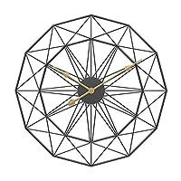壁掛け時計 18〜20インチレトロなヨーロッパスタイルの壁掛け時計家庭用ベッドアイアンアート時計壁の装飾ブラックフレームウォルナットポインタ (Color : Green)