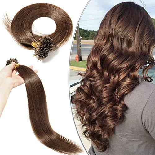 Elailite Extension Cheratina Capelli Veri Naturali 100 Ciocche Qualita Migliorata 35cm - 100% Remy Human Hair Indiani senza Clip 50g #4 Marrone Cioccolato