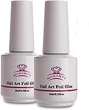 Makartt Nail Art Foil Glue Gel for Foil Stickers Nail Transfer Tips Manicure Art DIY 15ML 2 Bottles UV LED Lamp Required Soak Off