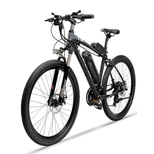 HWOEK E-Bike pour Adultes, 26 Pouces Vélo de Montagne électrique Amovible Batterie au Lithium 36V 10Ah 21 Vitesses Vélo VTT électrique Double Freins à Disque,Noir