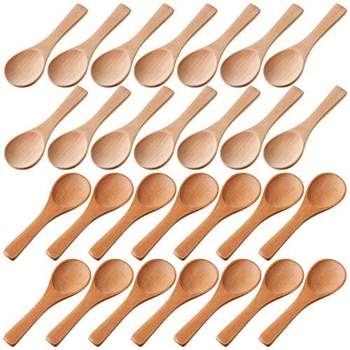 HLPIGF Cucharas PequeeAs de Madera Cucharas de DegustacióN Condimentos Cucharas de Sal para Cocina Aceite de Condimento de Cocina Café Té AzúCar 30 Piezas