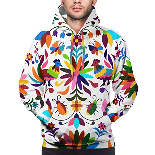 Mexican Otomi Style Bright Pattern Youth 3D Printed Hooide Sweatshirt with Pocket XL