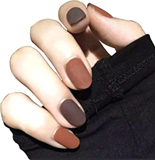JINDIN 24 Sheet Matte Fake Nails for Women French Oval False Nails with Glue Press on Nails Art