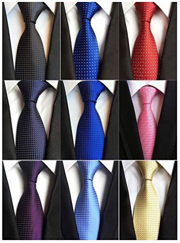 Adulove Men s Necktie Classic Silk Tie Woven Jacquard Neck Ties 9 PCS