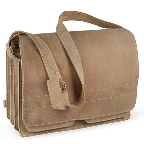 Sehr Große Aktentasche Lehrertasche Größe XXL aus Büffel-Leder, für Damen und Herren, Creme-Beige, Jahn-Tasche 677