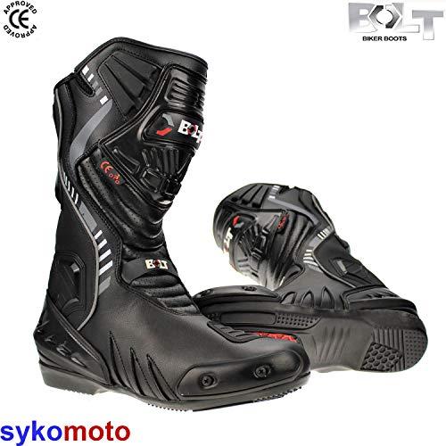 Bolt S14 Motorradschuhe Leder Semi Sportstiefel Schwarz Wasserdichtes Fahrrad Schutz Reiten CE Genehmigt EN13634 Absturz Sicherheits (UK 13/EU 47)