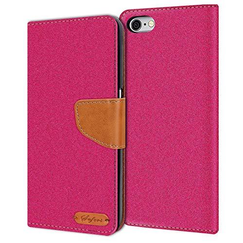 Verco iPhone 6S Hülle, Schutzhülle für Apple iPhone 6 Tasche Denim Textil Book Case Flip Case - Klapphülle Pink