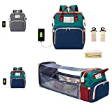 Upgraded 3 in 1 Baby Diaper Bag Backpack- Baby Diaper Bag with Changing Station - Baby Travel Bed Backpack - Includes Bassinet, Foldable Baby Bed, USB Charging Port, Stroller Straps (Colorful)
