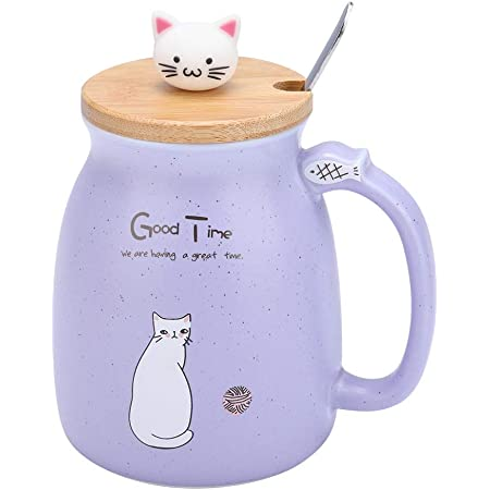 Ceramic Cup with Spoon and Lid Coffee Water Milk Mug Lovely Cat for Drinkware Girls Boys Gift 1Pc Pink