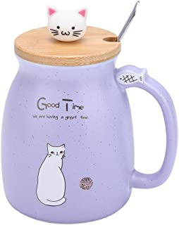Lovely Cat Ceramic Cup Coffee Water Milk Mug Tea Cup Sets with Spoon and Lid for Home Office Drinkware Gift(Purple)