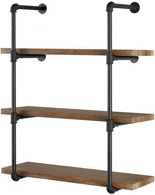 Yuanshikj 2Pc (42  Tall) (12 deep) Industrial Wall Mount Iron Pipe Shelf Shelves Shelving Bracket Vintage Retro Black DIY Open Bookshelf DIY Storage offcie Room Kitchen (2 Pcs 4Tier Hardware Only)