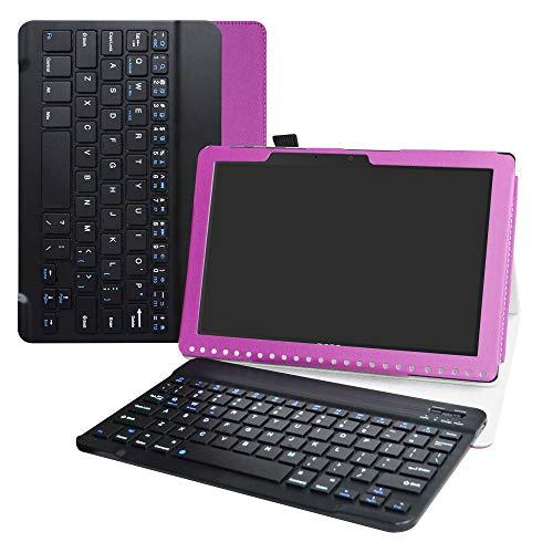 Liushan Toetsenbord Hoes voor Acer Iconia One, afneembaar draadloos toetsenbord PU lederen standaard Multi Angles Case voor 10.1
