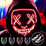 Halloween Purge LED Mask with LED Shoelaces, El Wire Glowing 3 Modes Light Up Scary Hacker Cosplay Mask Ideal for Man, Woman, Boys, Girls