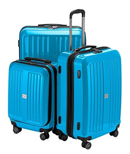 HAUPTSTADTKOFFER - X-Berg - 3er Koffer-Set Koffer Trolley Hartschalenkoffer, TSA (S, M, L ), Cyanblau