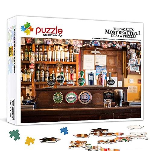 Irish Pub Botella de Whisky Cerveza de Grifo Mini Rompecabezas para Adultos 1000 Piezas Rompecabezas de Papel Gran Juego de Rompecabezas Ilustraciones para Adultos Adolescentes 15 x 10 Pulgadas