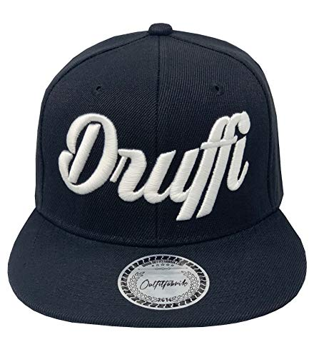 Outfitfabrik Snapback Cap Druffi in schwarz mit weißem 3D-Stick (Festival, Alkohol, Statement, Drogen, Kiffen) für Männer und Frauen, verstellbar an der Rückseite
