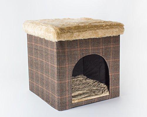 SAUERLAND Hundehöhle/Katzenhöhle und Hocker, Tweed-Optik, 50x50x50 cm, Indoor