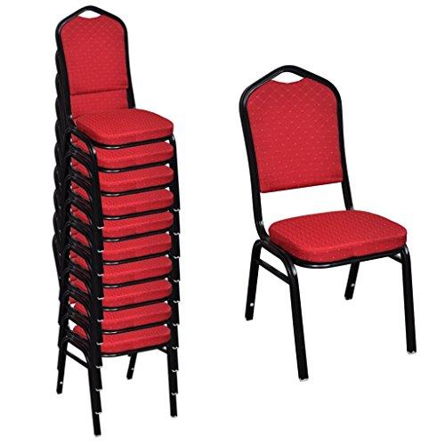 vidaXL 10x Saalstuhl Rot Bankettstuhl Stapelstuhl Essstuhl Küchenstuhl Stuhl