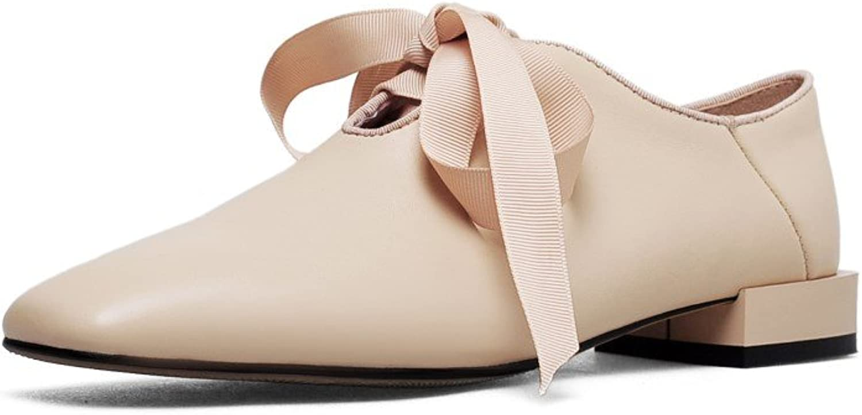 Nine Seven Genuine Leather Women's Square Toe Flat Heel Lace Up Handmade Graceful Pumps