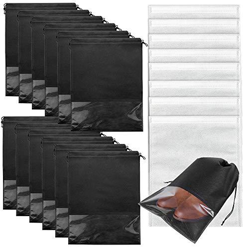 20er Schuhbeutel, Wasserabweisend Schuhtasche Staubdicht Schuhsack mit Zugband und Sichtfenster, tragbarer Vliesstoff Schuhsack für Reisen oder Zuhause-Aufbewahrung (schwarz+Weiß)