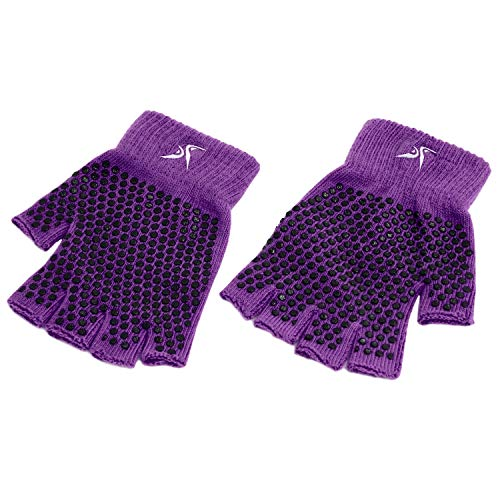 ProsourceFit Grippy Yoga Gloves, One Size Fits All, Non-Slip Fingerless Design in Purple