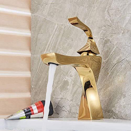 Becken Wasserhahn Messing Hot and Cold Mix Wasserhahn Waschbecken Wasserhahn Einhebel Modern Golden