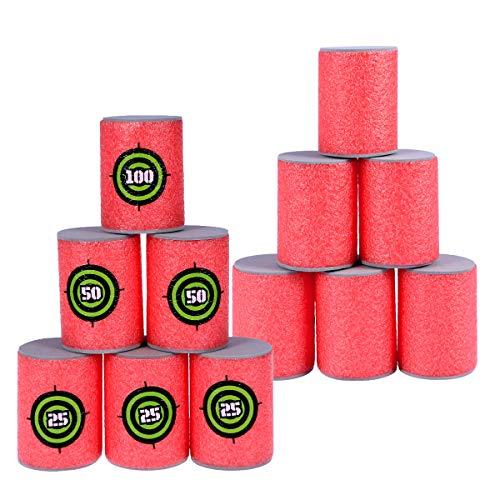 VORCOOL 12pcs Soft Foam Target Cans für Nerf Waffen Spiele