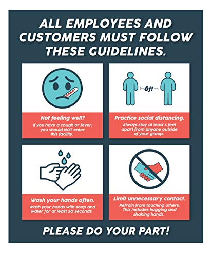 Health Safety Decal | Coronavirus Guidelines for Business and Store Safety - 10' x 12' Health Safety Sticker Sign for Window or Smooth Surfaces Indoors or Outside