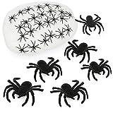 com-four® Juego de 32 Piezas de Tela de araña de Halloween - Tela de araña con arañas pequeñas y Grandes - Tela de araña Decorativa para Hallowee y Carnaval (1 Pieza de telaraña - 31 arañas)