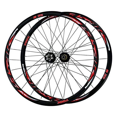 Ruedas de Bicicleta 29 Pulgadas,Freno de Disco Todoterreno/Freno En V Llanta MTB de Doble Pared Bicicleta de Carretera Ruedas Volante de 7/8/9/10/11 Velocidades (Color : Black hub, Size : 700C)
