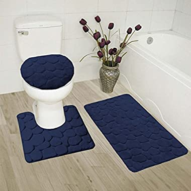 Fancy Collection 3 Pc Bath Rug Set Memory Foam Non-Slip Bathroom Rug Contour, Mat And Toilet Lid Cover Solid Navy Blue New