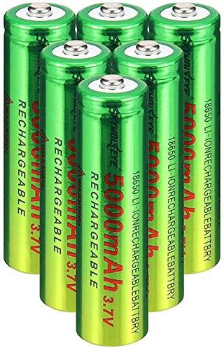 2/4/6/8/10 Piezas 18650 BATERIA DE BATERÍA DE BATERÍA 3.7V / 5000mAH Baterías Recargables 1 800 Ciclos para ICR18650 Baterías de Litio Li-Ion Bateria para Poder-6 Piezas