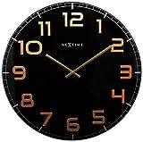 NeXtime Reloj de pared 'CLASSY LARGE', muy silencioso, en cristal, negro/cobre, redondo, ø 50 cm