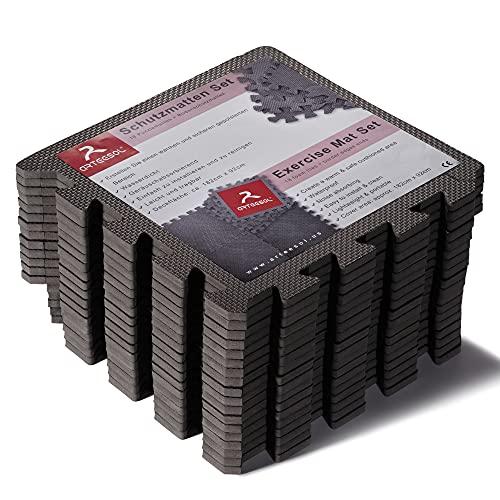 arteesol Schutzmatten Set 18er Puzzlematten Trainingsmatten wasserdichte Bodenschutzmatten Unterlegmatte, Anti-rutsch Bodenauflagen Gymnastikmatten für Pool Fitnessgeräte (schwarz : 30 x 30cm(18pcs))