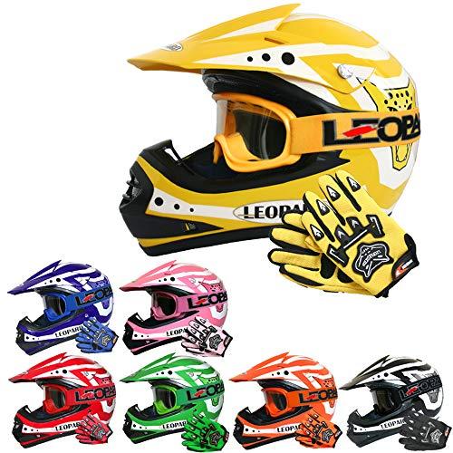 Leopard LEO-X17 Casco de Motocross para Niños Amarillo L (53-54cm) y Guantes y L(7cm) Gafas ECE Homologado