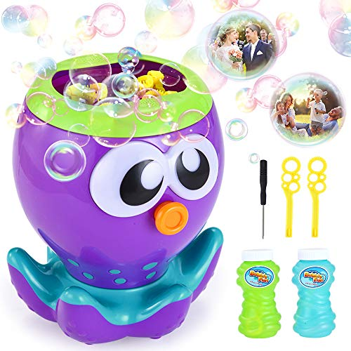 VATOS Bubble Machine for Kids Toddlers, Automatic Bubble Blower 1000+ Bubbles per Min for Party Wedding Birthday, Octopus Bubble Maker Toy Gift for Boys Girls Outdoor & Indoor, with 2 Bubble Solution