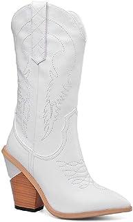 Western Cowboy geborduurde laars Ridderlaarzen voor dames Simplicity hoge lange laars Grote maat halfhoge spitse damesscho...