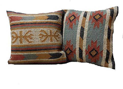 Handicraft Bazarr - Set 2 Kelim-Kissenbezüge, rustikale Kelim-Kissen, Jute-Kissenbezug, indische Kissenbezüge, handgefertigt, 45 x 45 cm, Vintage-Kissenbezug, dekoratives Wurfkissen