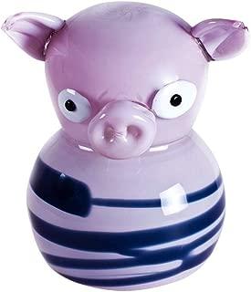 YourMurano Murano Glass Sculpture, Fun Pig, Pink with Black Stripes, Handmade, Blown Glass, Made in Italy, Modern Style, 100% Trademark of Origin Guaranteed, Maya