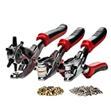 Revolving Leather Hole Punch, Eyelet and Snap Setting Pliers Tool Kit - Great for Crafts, DIY, Belts, Dog Collars, Saddles, Fabric, Watch Bands, Straps, Paper, Includes 100 eyelet and 25 press studs (Office Product)