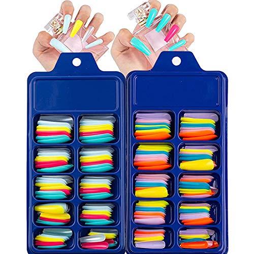 200 Stk Falsche Nägel zum Aufkleben, künstliche fingernägel, DIY Nagelspitzen ABS Aufpressen Nägel (Helles Licht)