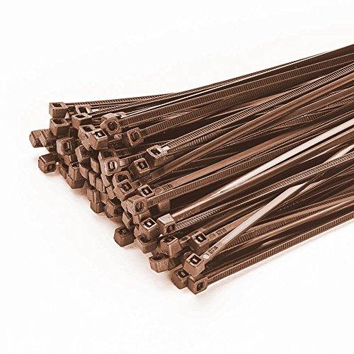 100 stuks kabelbinders 200 mm x 3,6 mm voor hek schaduwnet hekafrastering in bruin