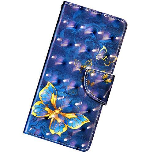 Funda Compatible con Xiaomi Redmi Note 5A.Cuero Case Creativo Patrón 3D PU Carcasa Libro Flip Billetera Ranura para Tarjeta Cierre Magnético Protectora Plegable Soporte Anti-caída Bumper,Una Mariposa