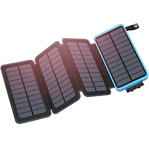 Hiluckey Solar Charger 25000mAh Portable Solar Power Bank Waterproof Battery Packs with Dual Ports Solar Phone Charger for Smartphones and Tablets