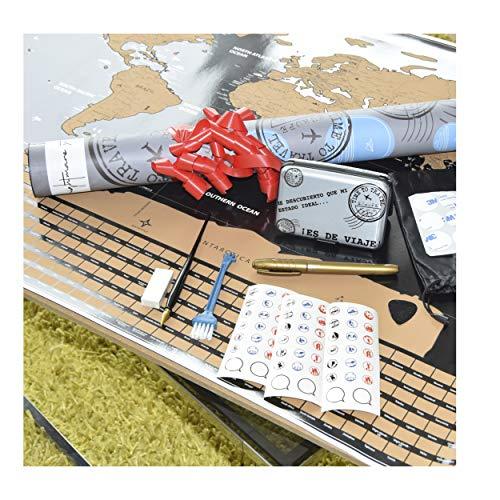 NIGHTMARE STYLE Mapa Mundi Rascar Y Tarjetero con Bloqueo RFID y NFC. Presentación para Regalar. Porta-Tarjetas para Hombre o Mujer. Viaje y Equipaje.