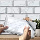 Frolahouse Calcomanías decorativas de estilo americano, color blanco, imitación de mármol, para azulejos de vinilo, para cocina, pared, escaleras, muebles, escaleras, decoración del hogar